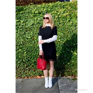 Zara Black Shift Dress with Fringe